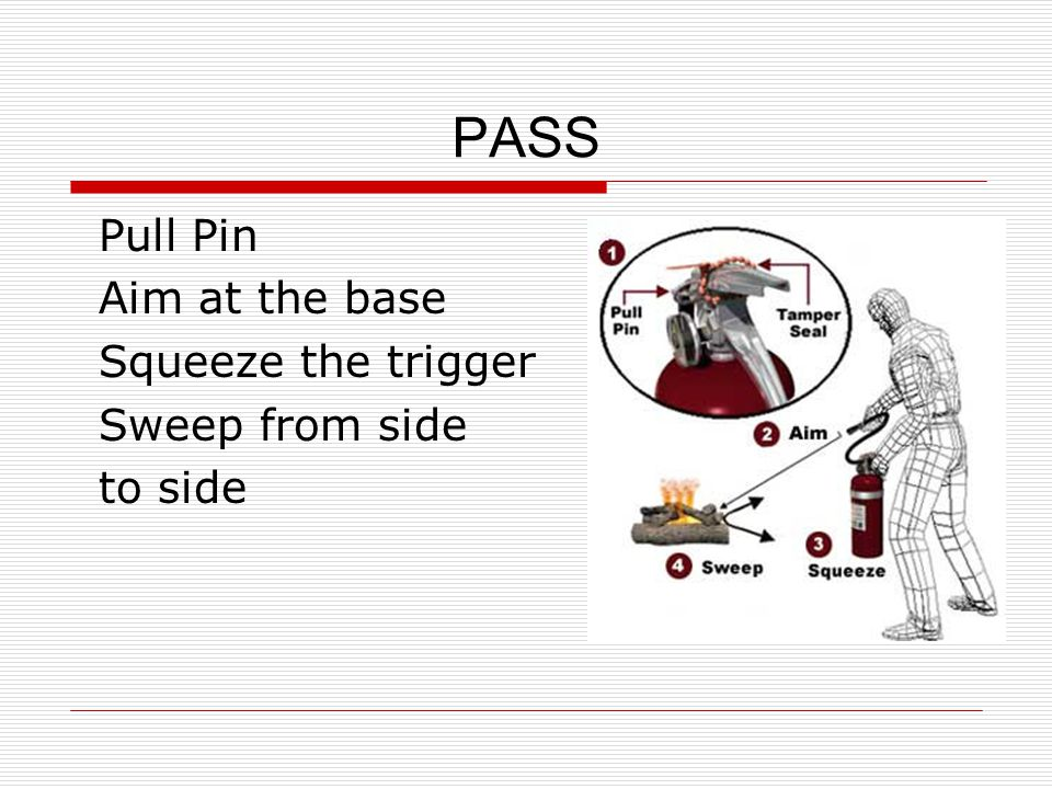 PASS Pull Pin Aim at the base Squeeze the trigger Sweep from side to side