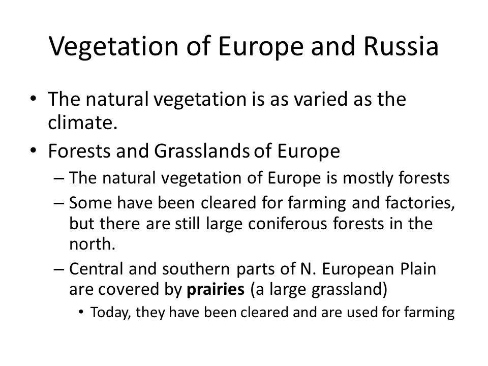 Vegetation of Europe and Russia The natural vegetation is as varied as the climate. Forests and Grasslands of Europe – The natural vegetation of Europ