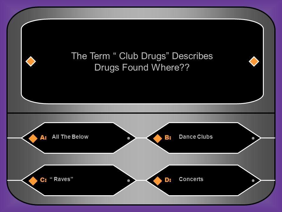 A:B: All The BelowDance Clubs The Term Club Drugs Describes Drugs Found Where .