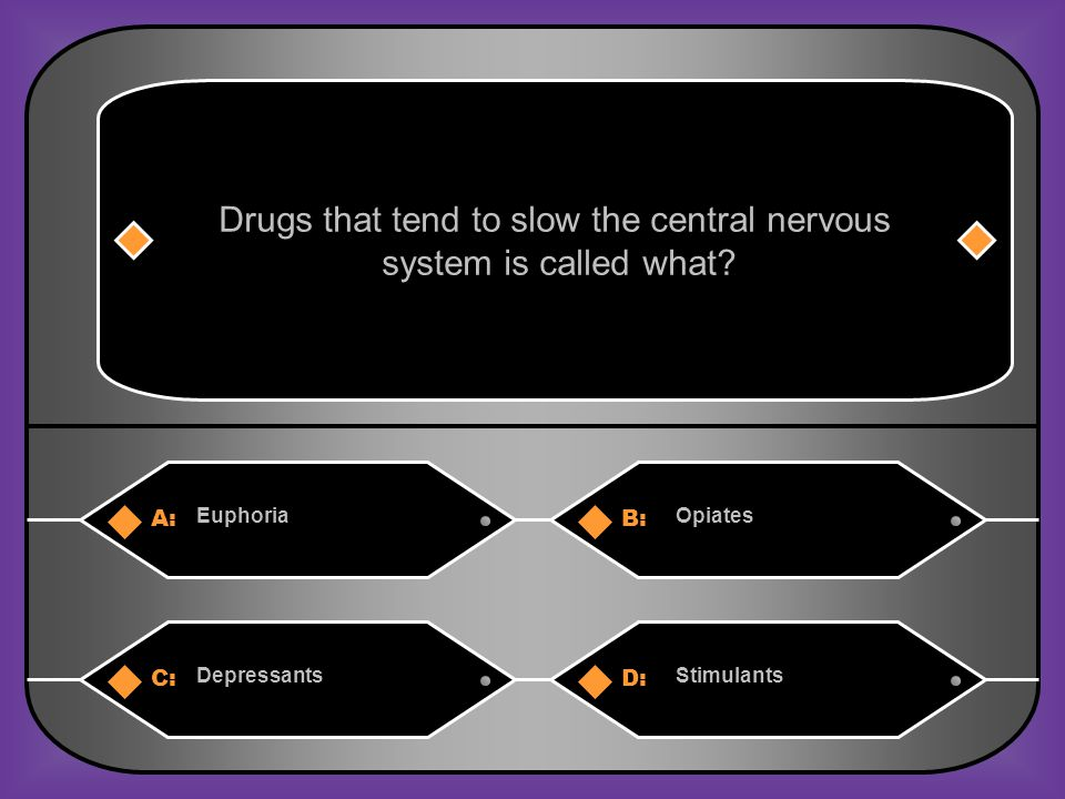 A:B: EuphoriaOpiates Drugs that tend to slow the central nervous system is called what.