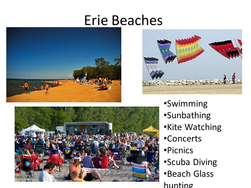 Erie Beaches Swimming Sunbathing Kite Watching Concerts Picnics Scuba Diving Beach Glass hunting