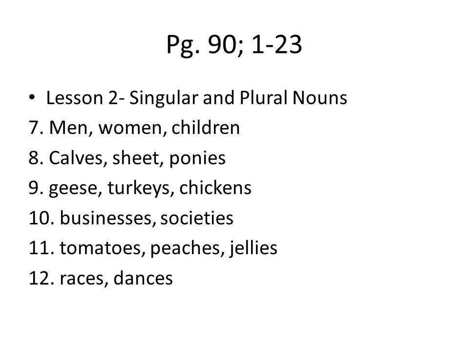 Pg.90; 1-23 Lesson 3- Possessives 13. country's 14.