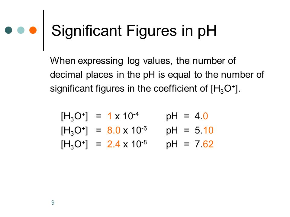 9 Significant Figures in pH When expressing log values, the number of decimal places in the pH is equal to the number of significant figures in the coefficient of [H 3 O + ].