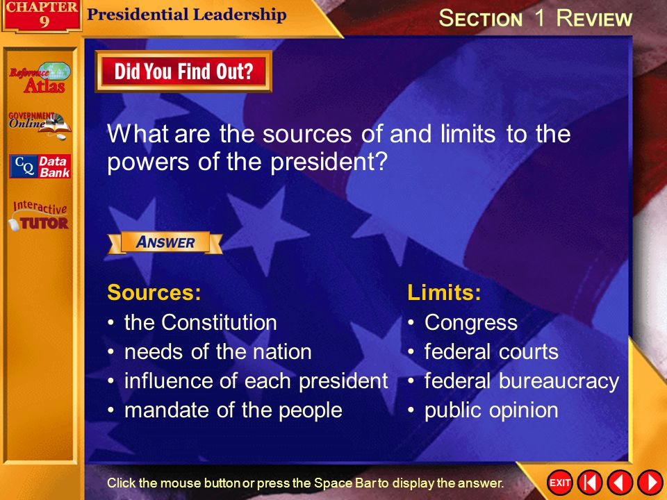 Section 1-Assessment 1 Why do presidential powers tend to grow in times of national emergency? Congress has often granted a president special powers,