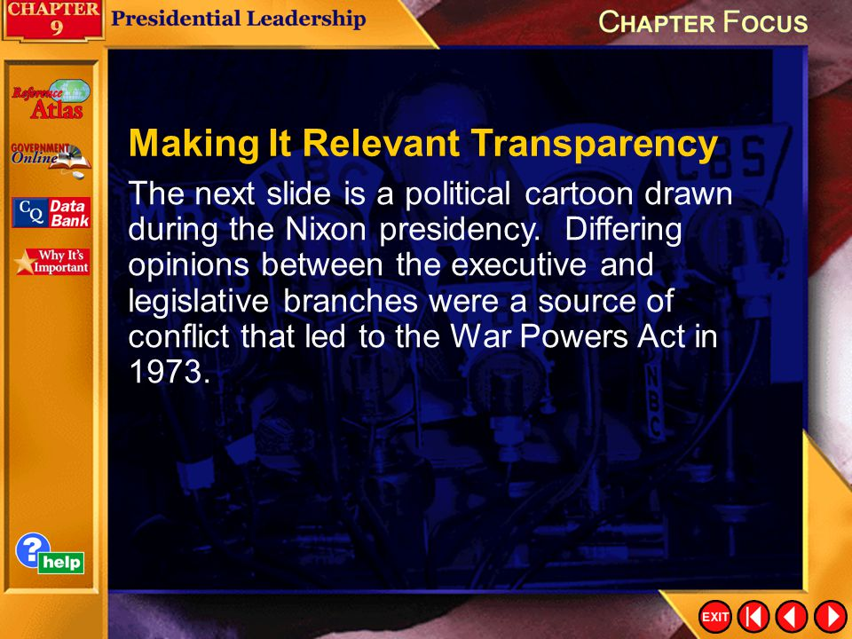 Chapter Focus 3 The next slide is a political cartoon drawn during the Nixon presidency.