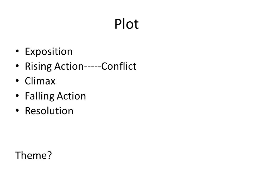 Plot Exposition Rising Action-----Conflict Climax Falling Action Resolution Theme?