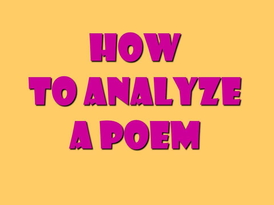 How to Analyze a Poem