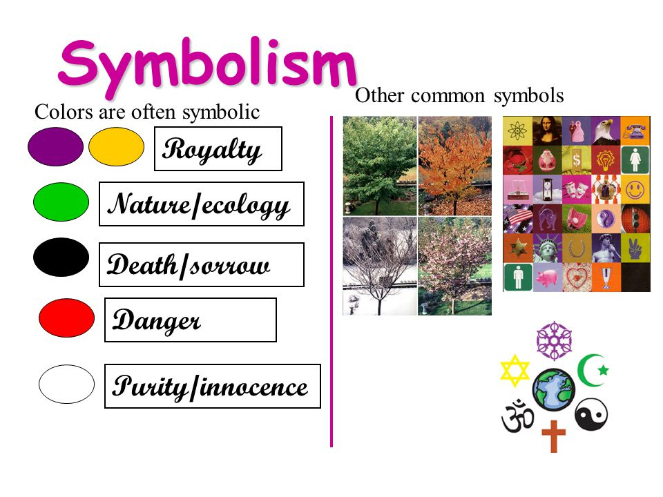 Symbolism Colors are often symbolic Royalty Nature/ecology Death/sorrow Danger Purity/innocence Other common symbols