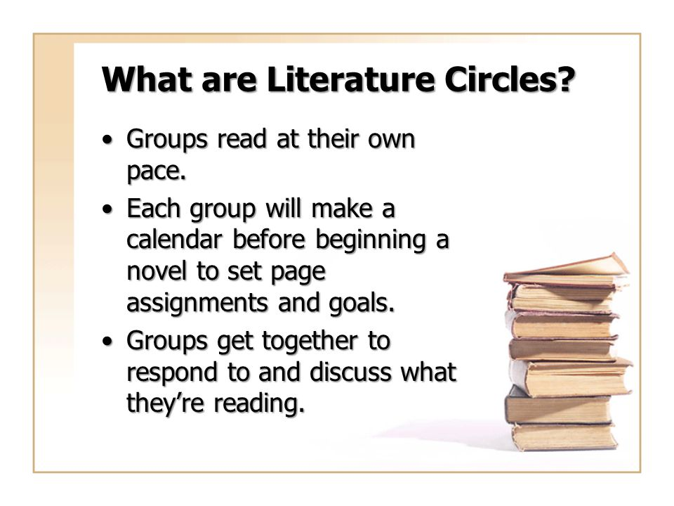 What are Literature Circles? Groups read at their own pace.Groups read at their own pace. Each group will make a calendar before beginning a novel to