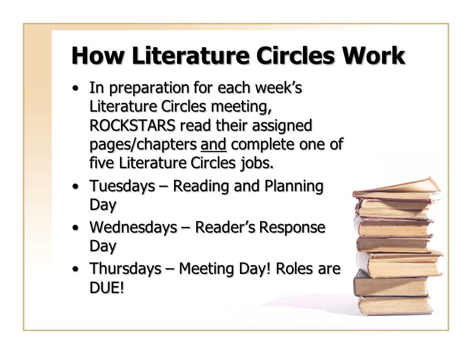 How Literature Circles Work In preparation for each week's Literature Circles meeting, ROCKSTARS read their assigned pages/chapters and complete one o