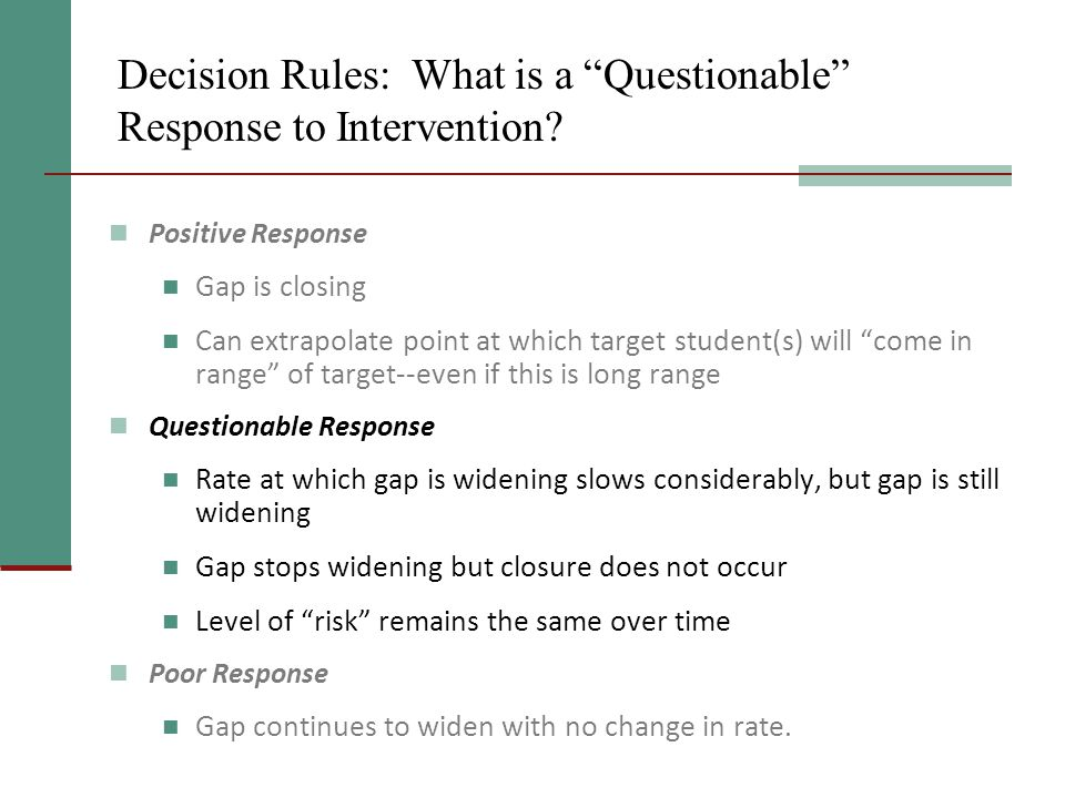 Decision Rules: What is a Questionable Response to Intervention.