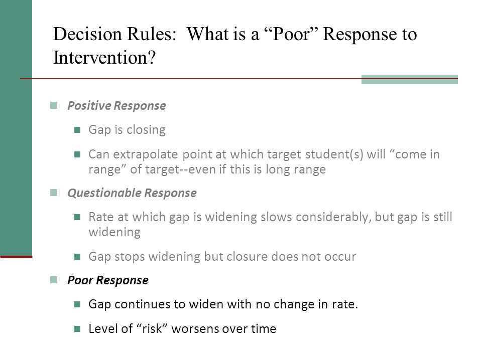 Decision Rules: What is a Poor Response to Intervention.