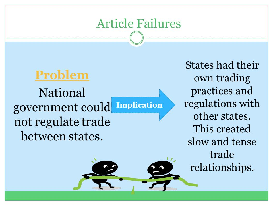 Article Failures Problem National government could not regulate trade between states. Implication States had their own trading practices and regulatio