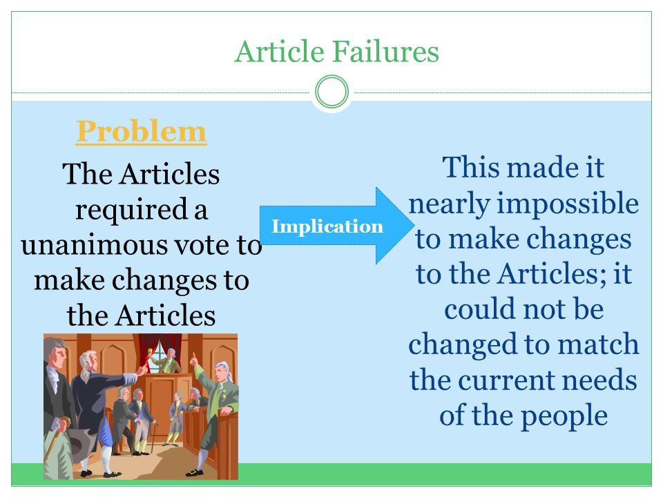 Article Failures This made it nearly impossible to make changes to the Articles; it could not be changed to match the current needs of the people Prob