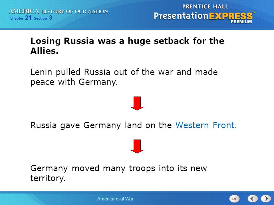 Chapter 21 Section 3 Americans at War Losing Russia was a huge setback for the Allies. Lenin pulled Russia out of the war and made peace with Germany.
