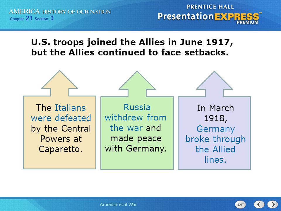 Chapter 21 Section 3 Americans at War U.S. troops joined the Allies in June 1917, but the Allies continued to face setbacks. The Italians were defeate