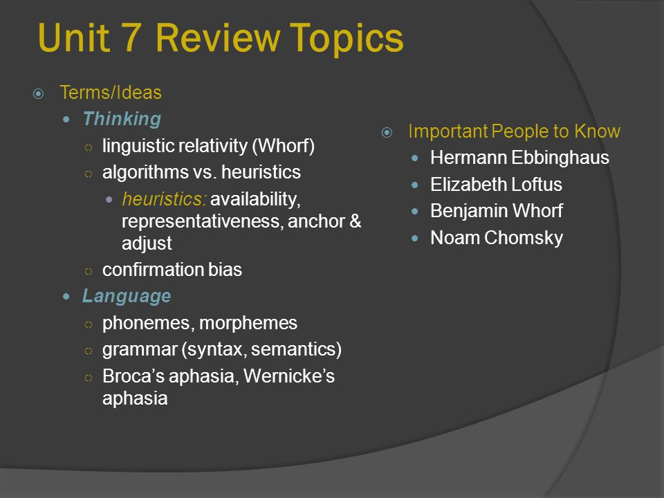Unit 7 Review Topics  Important People to Know Hermann Ebbinghaus Elizabeth Loftus Benjamin Whorf Noam Chomsky  Terms/Ideas Thinking ○ linguistic re