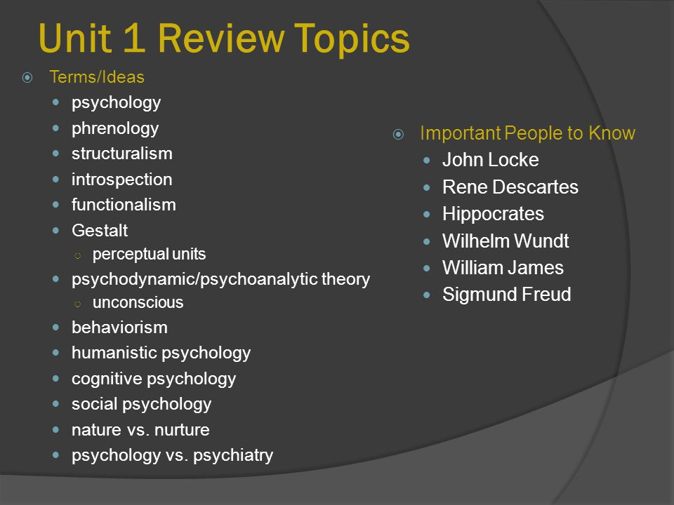 Unit 1 Review Topics  Important People to Know John Locke Rene Descartes Hippocrates Wilhelm Wundt William James Sigmund Freud  Terms/Ideas psycholo