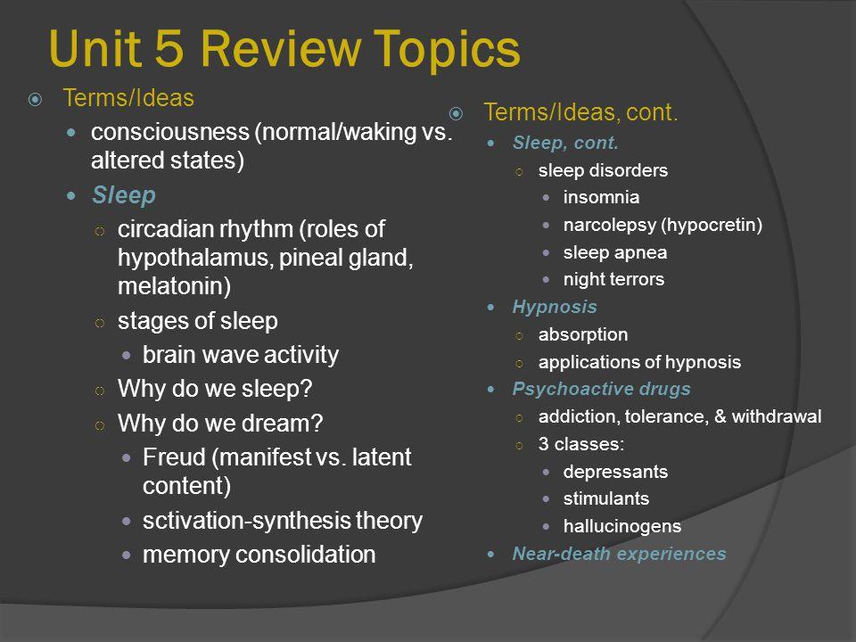 Unit 5 Review Topics  Terms/Ideas, cont.Sleep, cont.