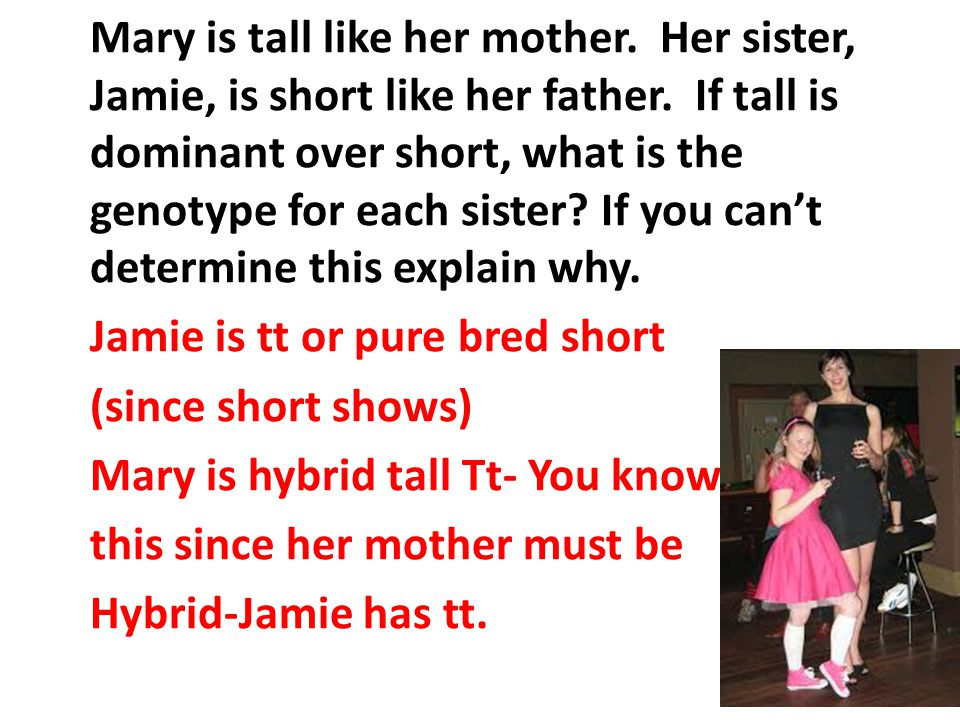 Mary is tall like her mother. Her sister, Jamie, is short like her father.