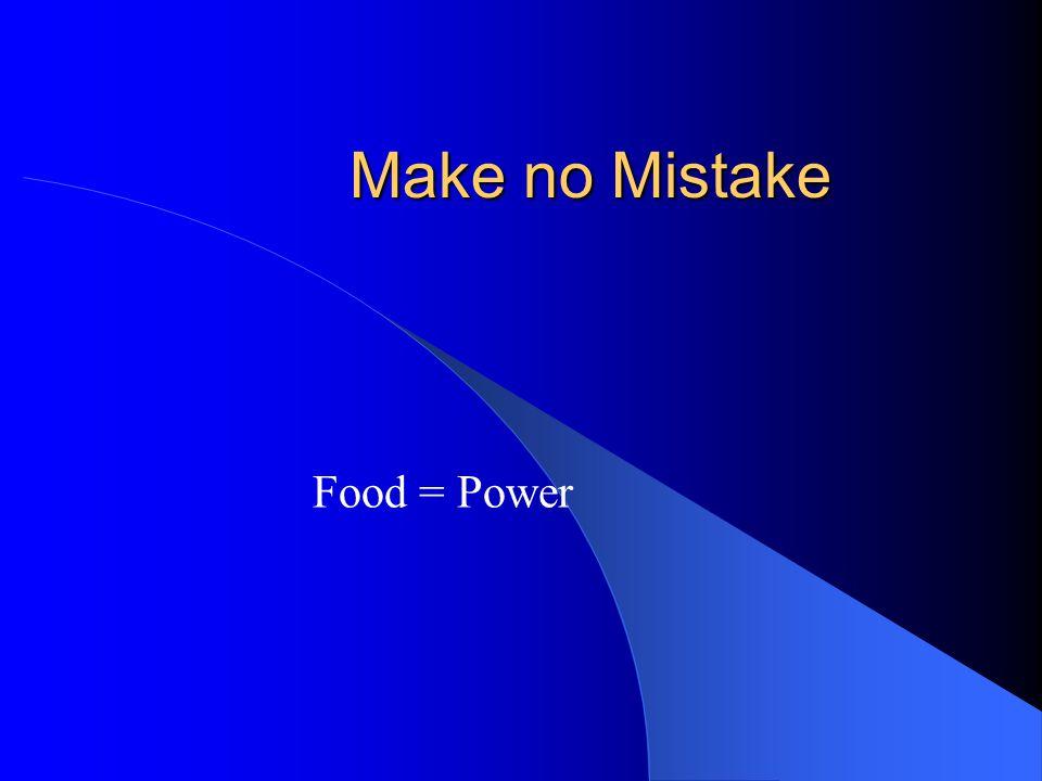 Make no Mistake Food = Power