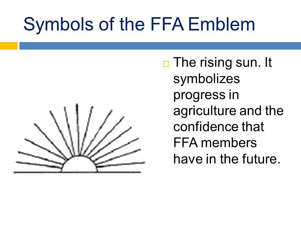Symbols of the FFA Emblem  The rising sun.
