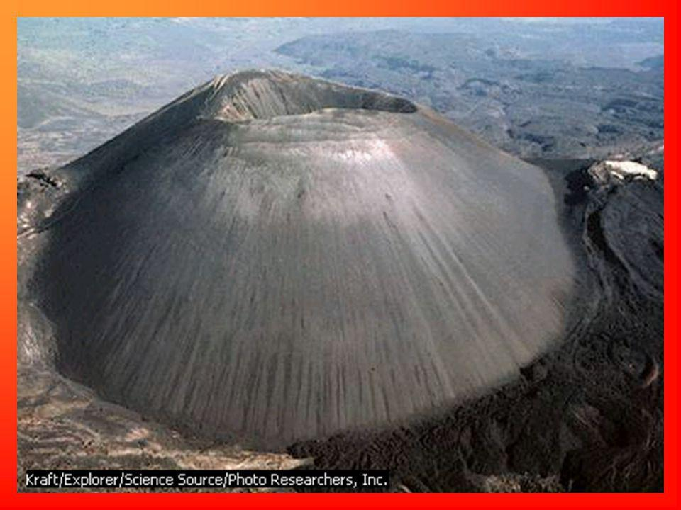 Cinder cone volcanoes form when solid rock and ash shoot up into the air and fall back around the volcano opening.