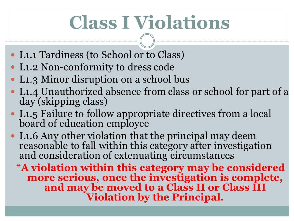 Class I Violations L1.1 Tardiness (to School or to Class) L1.2 Non-conformity to dress code L1.3 Minor disruption on a school bus L1.4 Unauthorized ab