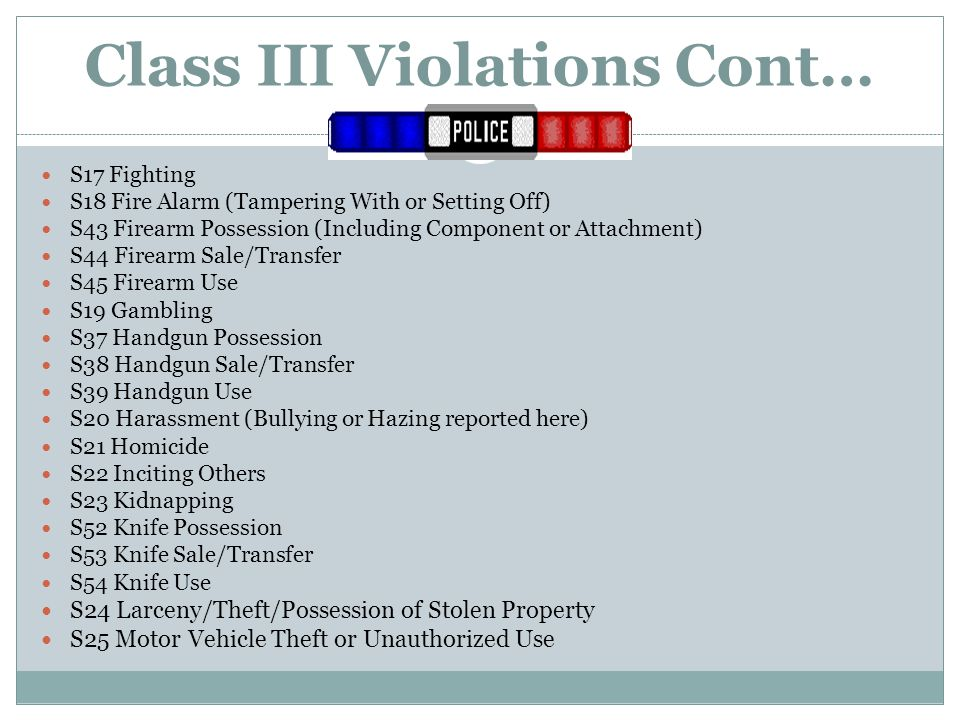 Class III Violations Cont… S17 Fighting S18 Fire Alarm (Tampering With or Setting Off) S43 Firearm Possession (Including Component or Attachment) S44