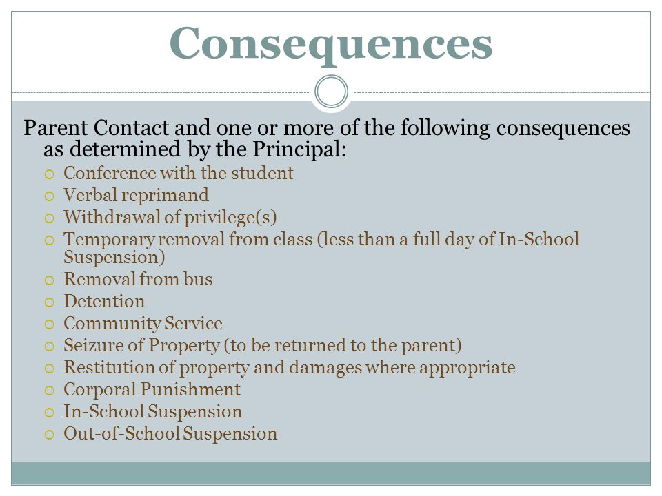 Consequences Parent Contact and one or more of the following consequences as determined by the Principal:  Conference with the student  Verbal repri