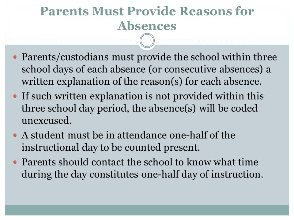 Parents Must Provide Reasons for Absences Parents/custodians must provide the school within three school days of each absence (or consecutive absences