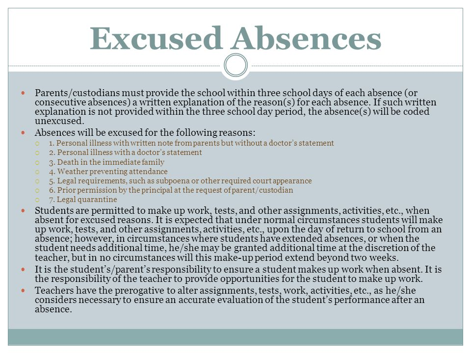 Excused Absences Parents/custodians must provide the school within three school days of each absence (or consecutive absences) a written explanation o