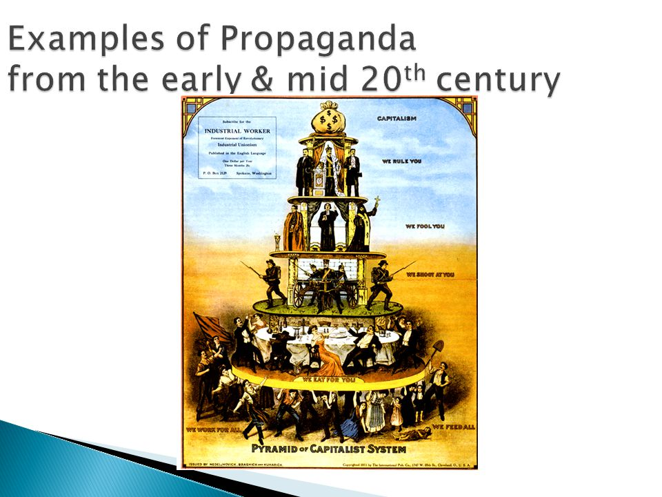 Examples of Propaganda from the early & mid 20 th century