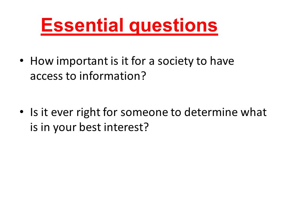 How important is it for a society to have access to information.