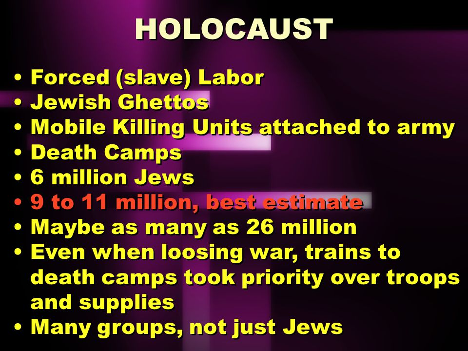 Holocaust Deliberate extermination of Jews (Holocaust, originally derived from the Greek meaning a completely burnt sacrificial offering to a god.