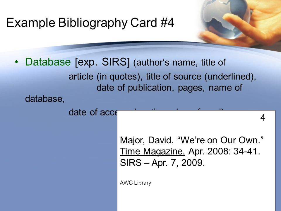 Example Bibliography Card #4 Database [exp.