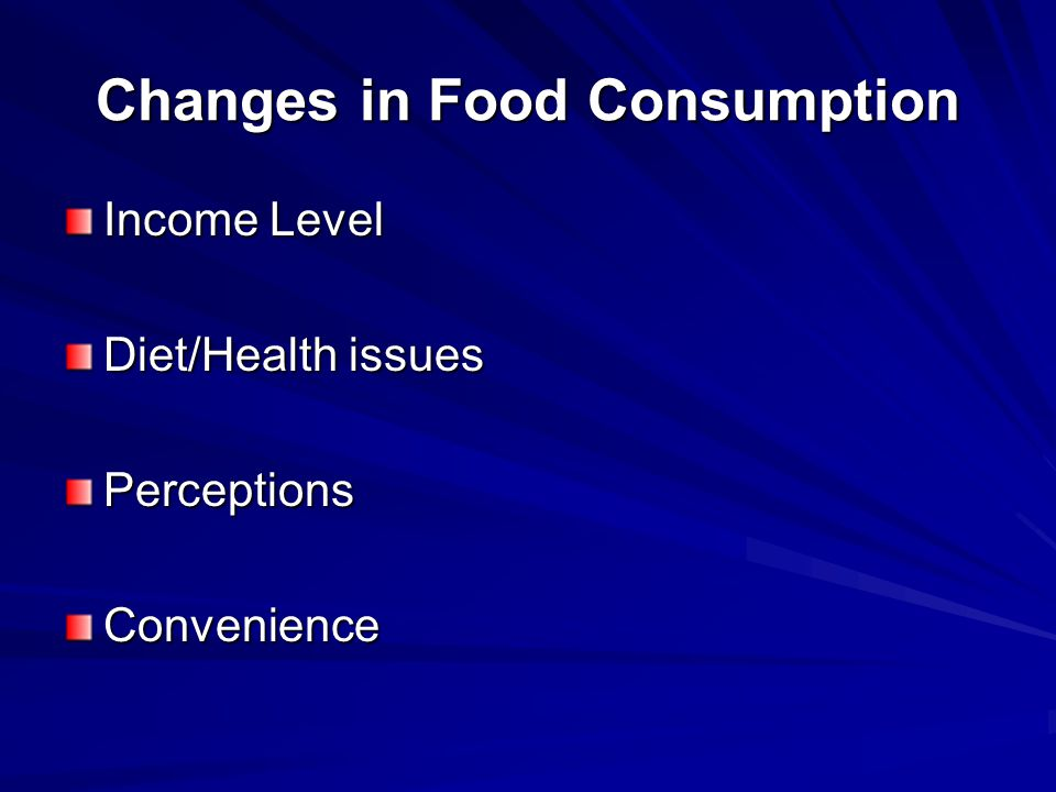 Changes in Food Consumption Income Level Diet/Health issues PerceptionsConvenience