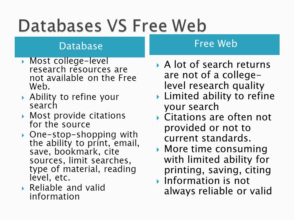 Database Free Web  Most college-level research resources are not available on the Free Web.