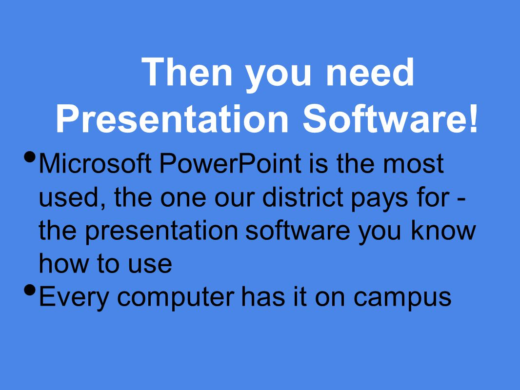 Then you need Presentation Software.