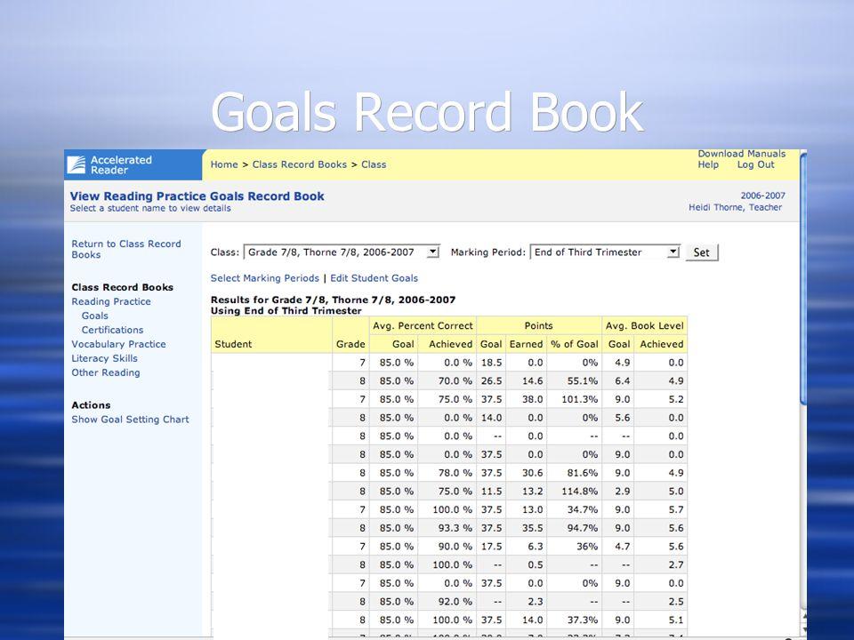 Goals Record Book