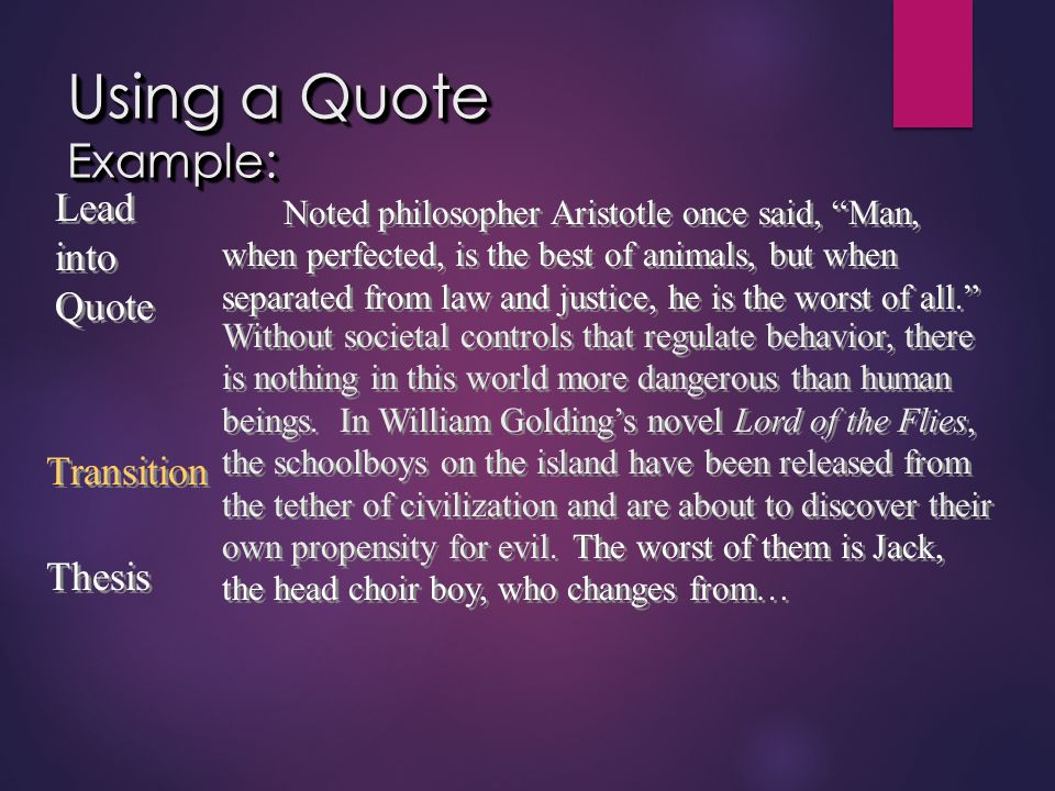 """Using a Quote Example: Noted philosopher Aristotle once said, """"Man, when perfected, is the best of animals, but when separated from law and justice, h"""
