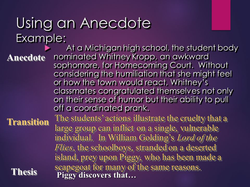 Using an Anecdote Example:  At a Michigan high school, the student body nominated Whitney Kropp, an awkward sophomore, for Homecoming Court. Without
