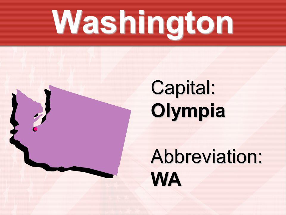 Washington Capital:OlympiaAbbreviation:WA