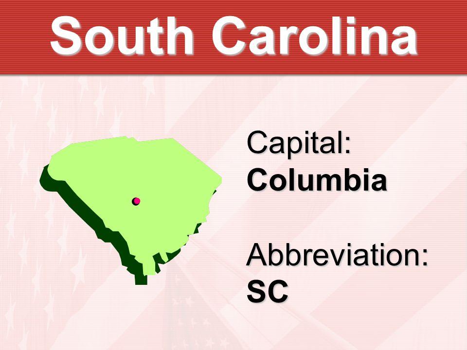 Capital:ColumbiaAbbreviation:SC
