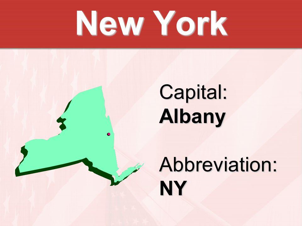 Capital:AlbanyAbbreviation:NY