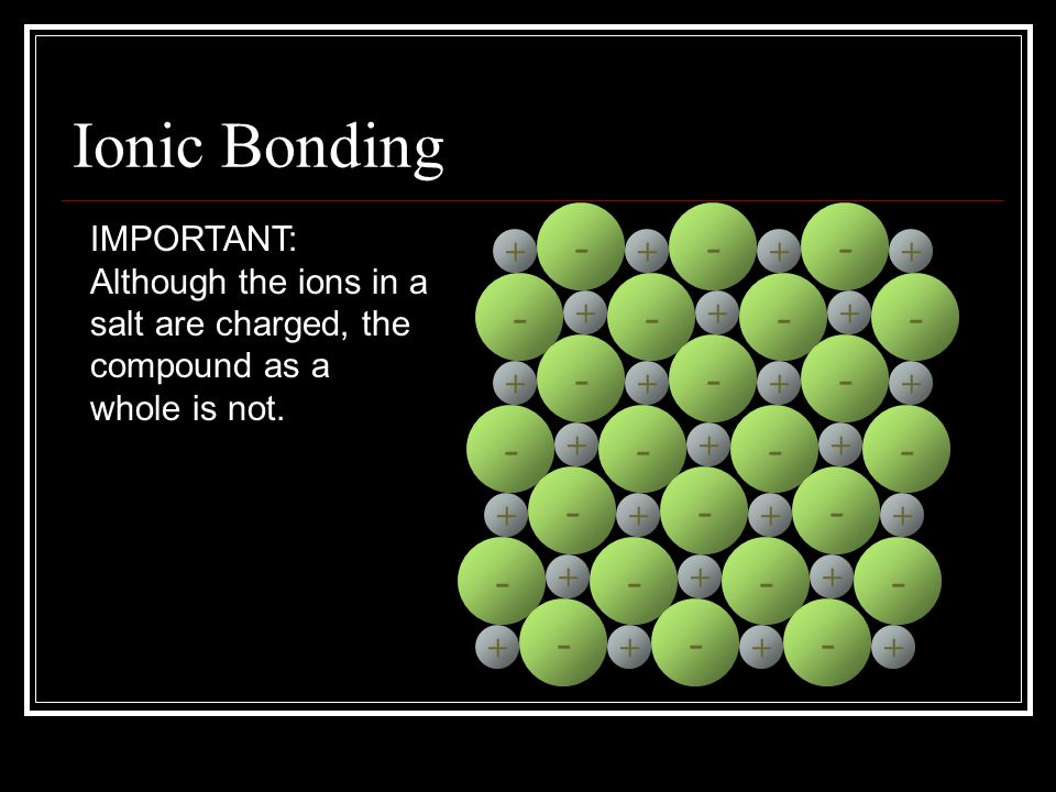 Ionic Bonding + - - + - - + - - + - + - + - + - + - + - + - + - + - + - + - + - + - + - + - +++ + - + - + - + IMPORTANT: Although the ions in a salt a