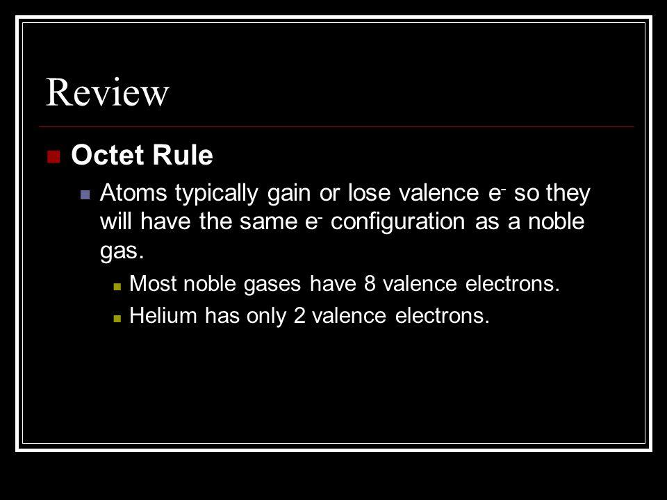 The Octet Rule Na Ne 8 valence electrons 1 valence electron 8 valence electrons
