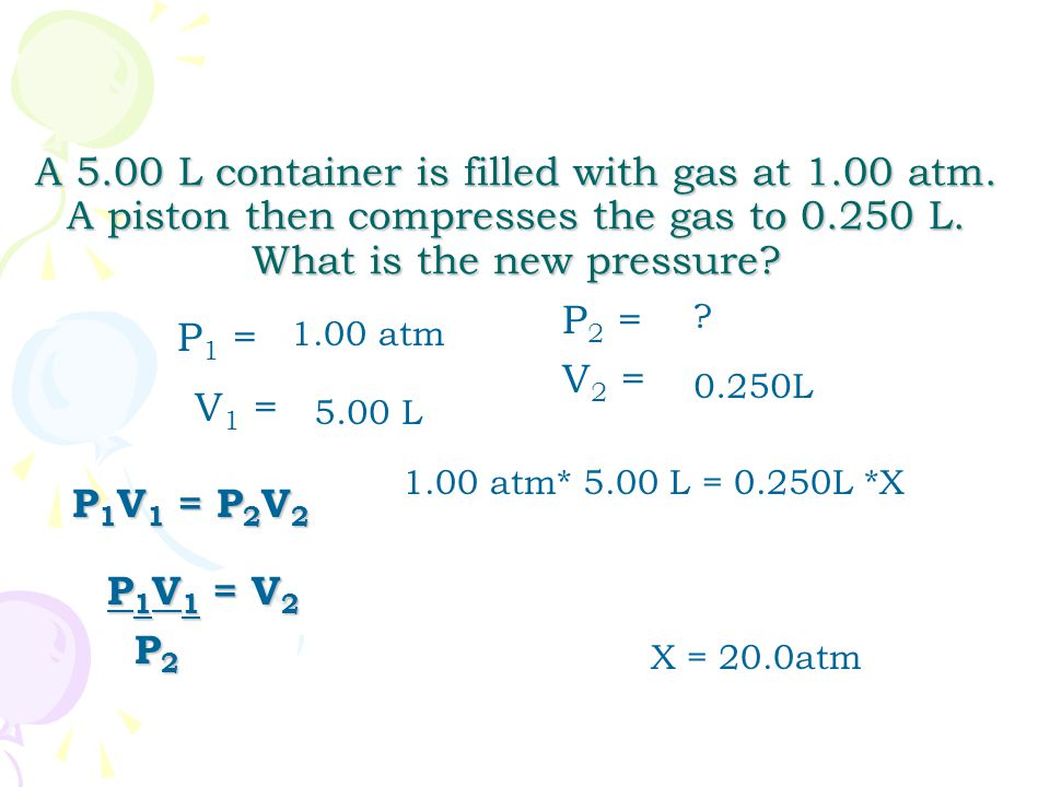 A 5.00 L container is filled with gas at 1.00 atm. A piston then compresses the gas to 0.250 L. What is the new pressure? 1.00 atm 5.00 L 0.250L P 1 =