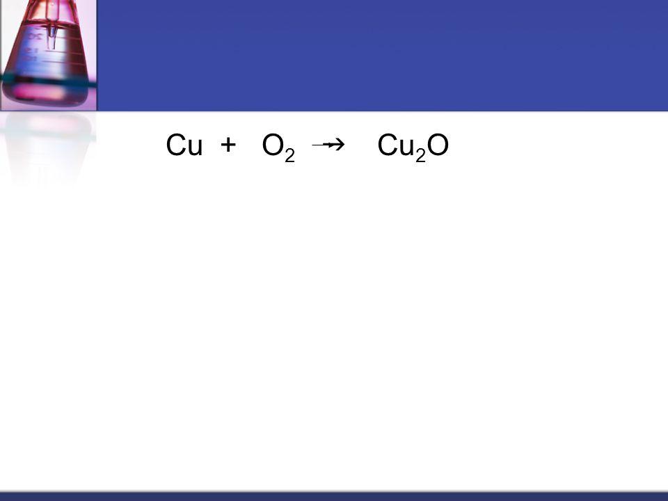 Cu + O 2  Cu 2 O