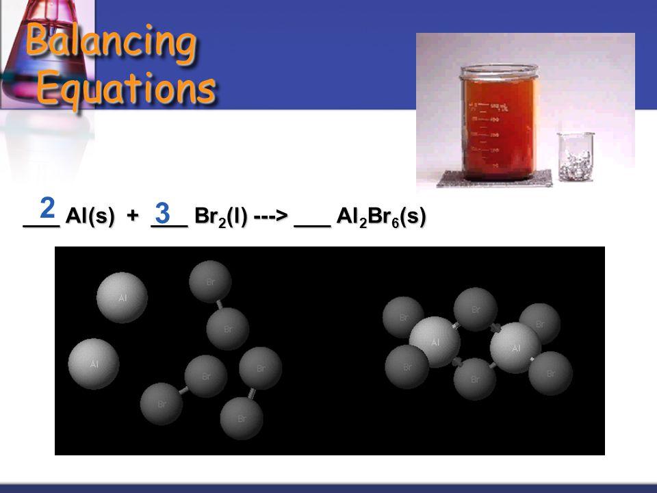 Balancing Equations ___ Al(s) + ___ Br 2 (l) ---> ___ Al 2 Br 6 (s) 2 3